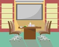 Πίνακας με τις καρέκλες στο εσωτερικό για τις παρουσιάσεις, τις διαπραγματεύσεις και τις συνεδριάσεις στο ύφος του επιπέδου διανυσματική απεικόνιση