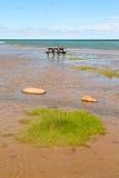 Πίνακας πικ-νίκ σε μια ακτή λιμνών Στοκ φωτογραφία με δικαίωμα ελεύθερης χρήσης