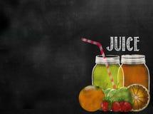Πίνακας πινάκων κιμωλίας θέματος Juicing φρούτων με το διάστημα αντιγράφων Στοκ Φωτογραφία