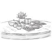 Πίνακας που θέτει καθορισμένος Πρόγευμα ή γεύμα Σαββατοκύριακου ελεύθερη απεικόνιση δικαιώματος