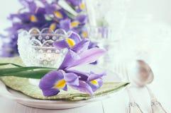 Πίνακας που θέτει με τα πορφυρά λουλούδια ίριδων Στοκ Φωτογραφίες