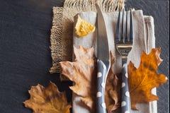 Πίνακας που θέτει με τη διακόσμηση φθινοπώρου για την ημέρα των ευχαριστιών Στοκ Φωτογραφία