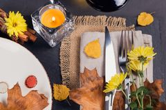 Πίνακας που θέτει με τη διακόσμηση φθινοπώρου για την ημέρα των ευχαριστιών Στοκ φωτογραφίες με δικαίωμα ελεύθερης χρήσης