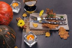 Πίνακας που θέτει με τη διακόσμηση φθινοπώρου για την ημέρα των ευχαριστιών Στοκ Εικόνες