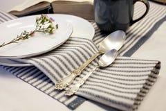 Πίνακας που θέτει με τις άσπρος-μπλε πετσέτες λινού το άσπρο εκλεκτής ποιότητας ύφος πιάτων και κουταλιών στοκ φωτογραφία με δικαίωμα ελεύθερης χρήσης