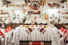Πίνακας που τίθεται για το γάμο που διακοσμείται στο ουκρανικό ύφος Στοκ Εικόνες
