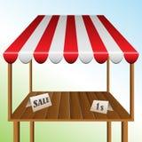 Πίνακας πώλησης με γδυμένο awning Στοκ Εικόνες