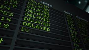 Πίνακας πληροφοριών πτήσης - καθυστερημένος διανυσματική απεικόνιση