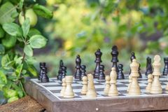 Πίνακας σκακιού με τα κομμάτια σκακιού στο γραφείο με τους κλάδους του μήλου tre Στοκ Εικόνα
