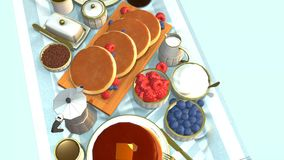 Πίνακας στον οποίο πρόγευμα με τις τηγανίτες και τα μούρα απόθεμα βίντεο