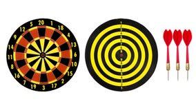 Πίνακας στόχων βελών και κόκκινο βέλος βελών στο άσπρο υπόβαθρο Στοκ εικόνες με δικαίωμα ελεύθερης χρήσης