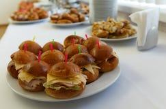 Πίνακας συμποσίου τομέα εστιάσεως με τα ψημένα πρόχειρα φαγητά, τα σάντουιτς, τα κέικ και τα πιάτα τροφίμων Στοκ Φωτογραφία