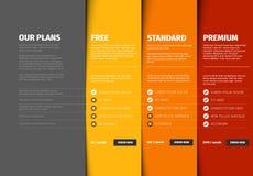 Πίνακας σύγκρισης τιμών προϊόντων/υπηρεσιών Ελεύθερη απεικόνιση δικαιώματος