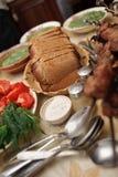 πίνακας τροφίμων ανασκοπή&sig Στοκ Εικόνα