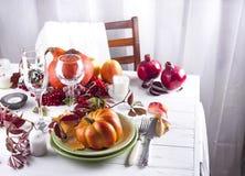 Πίνακας φθινοπώρου που θέτει με τις κολοκύθες Στοκ Εικόνες