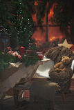 Πίνακας Χριστουγέννων μέσα σε ένα σπίτι Ατμόσφαιρα Χριστουγέννων Στοκ φωτογραφία με δικαίωμα ελεύθερης χρήσης