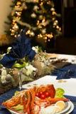 Πίνακας Χριστουγέννων με τον αστακό Στοκ φωτογραφία με δικαίωμα ελεύθερης χρήσης
