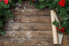 Πίνακας Χριστουγέννων με το έγγραφο, αλεύρι Στοκ Φωτογραφίες