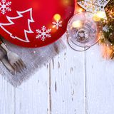 Πίνακας Χριστουγέννων που θέτει με τις διακοσμήσεις Χριστουγέννων στο άσπρο υπόβαθρο Στοκ εικόνες με δικαίωμα ελεύθερης χρήσης