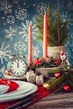 Πίνακας Χριστουγέννων που θέτει στο αγροτικό ύφος Στοκ φωτογραφίες με δικαίωμα ελεύθερης χρήσης