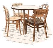Πίνακας afeteria Ð ¡ με τέσσερις καρέκλες στο λευκό Στοκ Εικόνα
