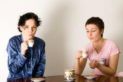 πίνοντας τσάι φίλων Στοκ Εικόνα
