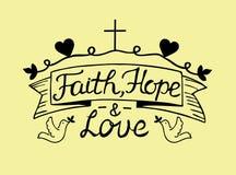 Πίστη, ελπίδα και αγάπη εγγραφής χεριών με το σταυρό και τις καρδιές διανυσματική απεικόνιση