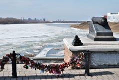 Πίστη κάστρων στη συμβολή δύο ποταμών Irtysh και OM Ομσκ, Ρωσία στοκ φωτογραφία