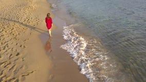 Πίσω άποψη μιας γυναίκας που περπατά χωρίς παπούτσια κατά μήκος της υγρής παραλίας άμμου Το τρέχοντας κύμα πλένει μακριά τα ίχνη  απόθεμα βίντεο