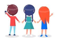 Πίσω άποψη σχετικά με τα κορίτσια και το αγόρι καλύτερων φίλων που απομονώνονται διανυσματική απεικόνιση