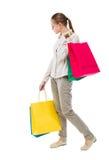 Πίσω άποψη της γυναίκας με τις τσάντες αγορών Στοκ εικόνες με δικαίωμα ελεύθερης χρήσης