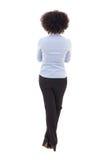Πίσω άποψη της ευτυχούς επιχειρησιακής γυναίκας αφροαμερικάνων που απομονώνεται στο W Στοκ φωτογραφία με δικαίωμα ελεύθερης χρήσης