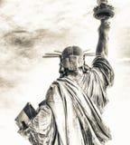 Πίσω άποψη του αγάλματος της ελευθερίας από το επίπεδο οδών, Νέα Υόρκη Στοκ Εικόνες