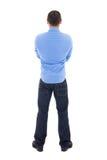 Πίσω άποψη του αραβικού επιχειρησιακού ατόμου στο μπλε πουκάμισο που απομονώνεται στο λευκό Στοκ φωτογραφία με δικαίωμα ελεύθερης χρήσης