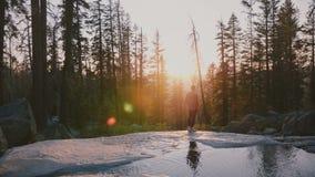 Πίσω άποψη του ελεύθερου ευτυχούς τοπικού ατόμου που απολαμβάνει ζαλίζοντας το ηλιοβασίλεμα που στο πάρκο Yosemite κοντά σε έναν  φιλμ μικρού μήκους