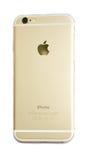 Πίσω άποψη του νέου iPhone 6 της Apple που απομονώνεται Στοκ Εικόνα