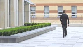 Πίσω άποψη του περπατώντας επιχειρηματία στο δρόμο πέρα από το όμορφο τοπίο φιλμ μικρού μήκους