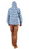Πίσω άποψη του πηγαίνοντας τύπου σε ένα πουκάμισο καρό με την κουκούλα Στοκ Εικόνα
