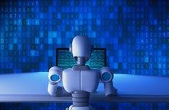 Πίσω άποψη του ρομπότ που χρησιμοποιεί έναν υπολογιστή με το δυαδικό κώδικα αριθμού στοιχείων απεικόνιση αποθεμάτων