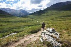 πίσω άποψη του τουρίστα με την οδοιπορία backpacker στοκ εικόνες