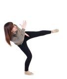 Πίσω άποψη των αστείων παλών γυναικών που κυματίζουν τα όπλα και τα πόδια του Στοκ Εικόνες