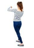 Πίσω άποψη των αστείων παλών γυναικών που κυματίζουν τα όπλα και τα πόδια του Στοκ φωτογραφία με δικαίωμα ελεύθερης χρήσης