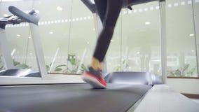Πίσω άποψη των θηλυκών ποδιών που τρέχουν treadmill στη γυμναστική, παρακινημένη κατάρτιση γυναικών απόθεμα βίντεο