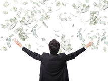 Χρήματα αγκαλιάσματος επιχειρησιακών ατόμων Στοκ εικόνες με δικαίωμα ελεύθερης χρήσης