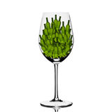 Πίσω αναμμένο γυαλί με τα μικρά πράσινα μπουκάλια μέσα Στοκ εικόνα με δικαίωμα ελεύθερης χρήσης