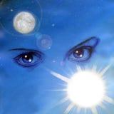 πίσω από τα μπλε μάτια Στοκ φωτογραφία με δικαίωμα ελεύθερης χρήσης
