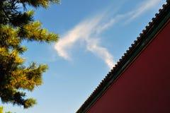 Πίσω από την απαγορευμένη πόλη στο Πεκίνο κάτω από το μπλε ουρανό στοκ εικόνες
