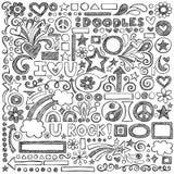 Πίσω διάνυσμα Doodles σχολικών στο περιγραμματικό σημειωματάριων άρρωστο Στοκ Εικόνες