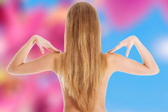 πίσω πίσω από απομονωμένη την έννοια nude γυναίκα πόνου Στοκ Εικόνες