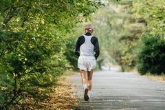 Πίσω παλαιότερος αρσενικός δρομέας που τρέχει στο πάρκο φθινοπώρου Στοκ φωτογραφία με δικαίωμα ελεύθερης χρήσης